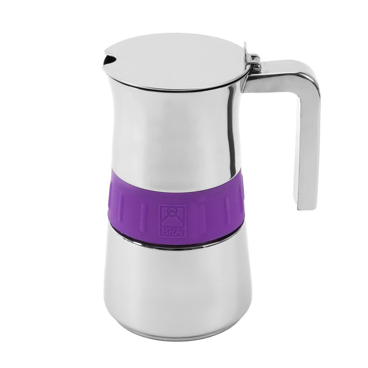 pintinox edelstahl espressokocher elegance lila f r bis zu 6 tassen. Black Bedroom Furniture Sets. Home Design Ideas