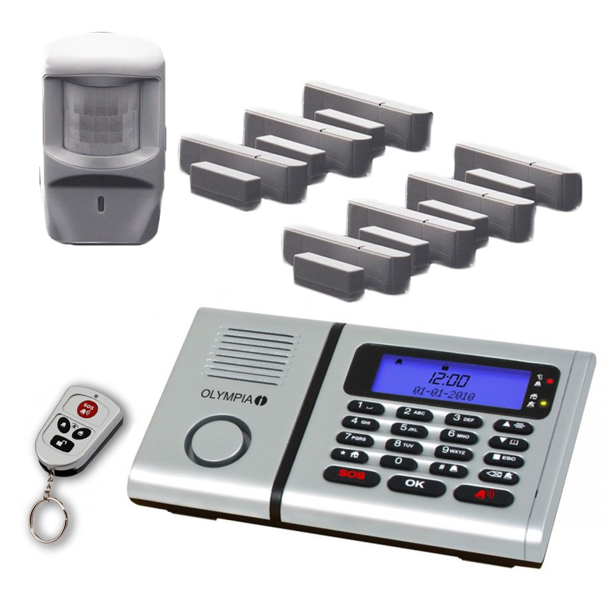 OLYMPIA Wireless alarm system 6061 Set with 7 Door/Window Detectors, Emergency call- and hands free call system and integrated telephone dial function