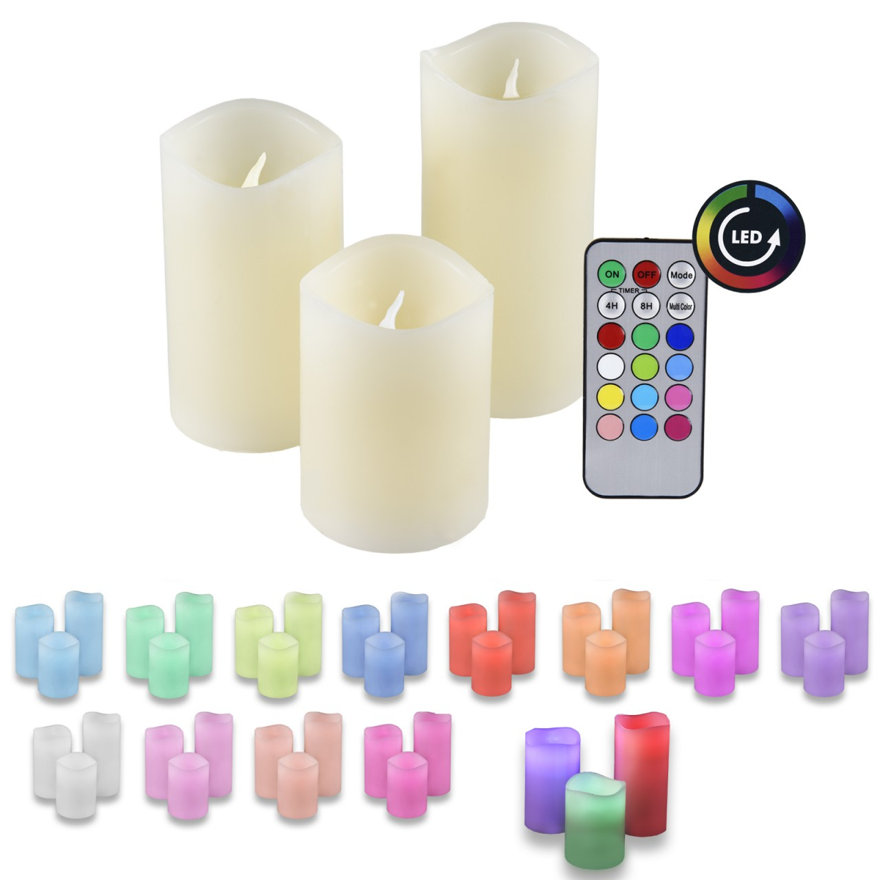 LED Wax Candle Set of 3 with Remote IOIO