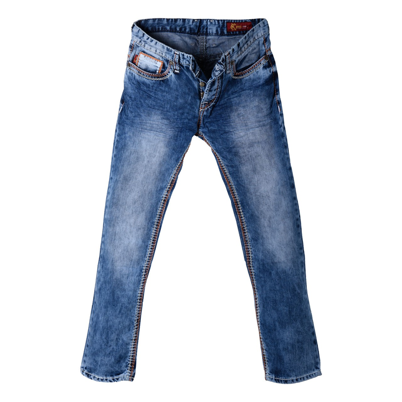 Mens Jeans Used Look with orange XXL seams