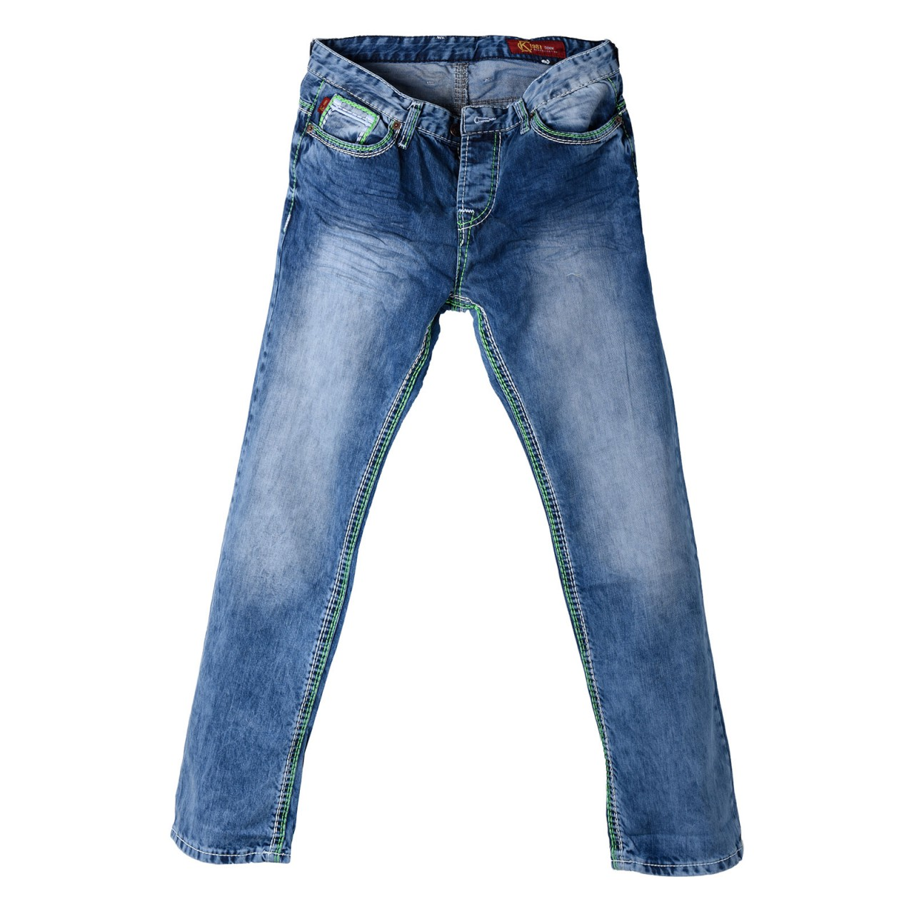 Mens Jeans Used Look with green XXL seam