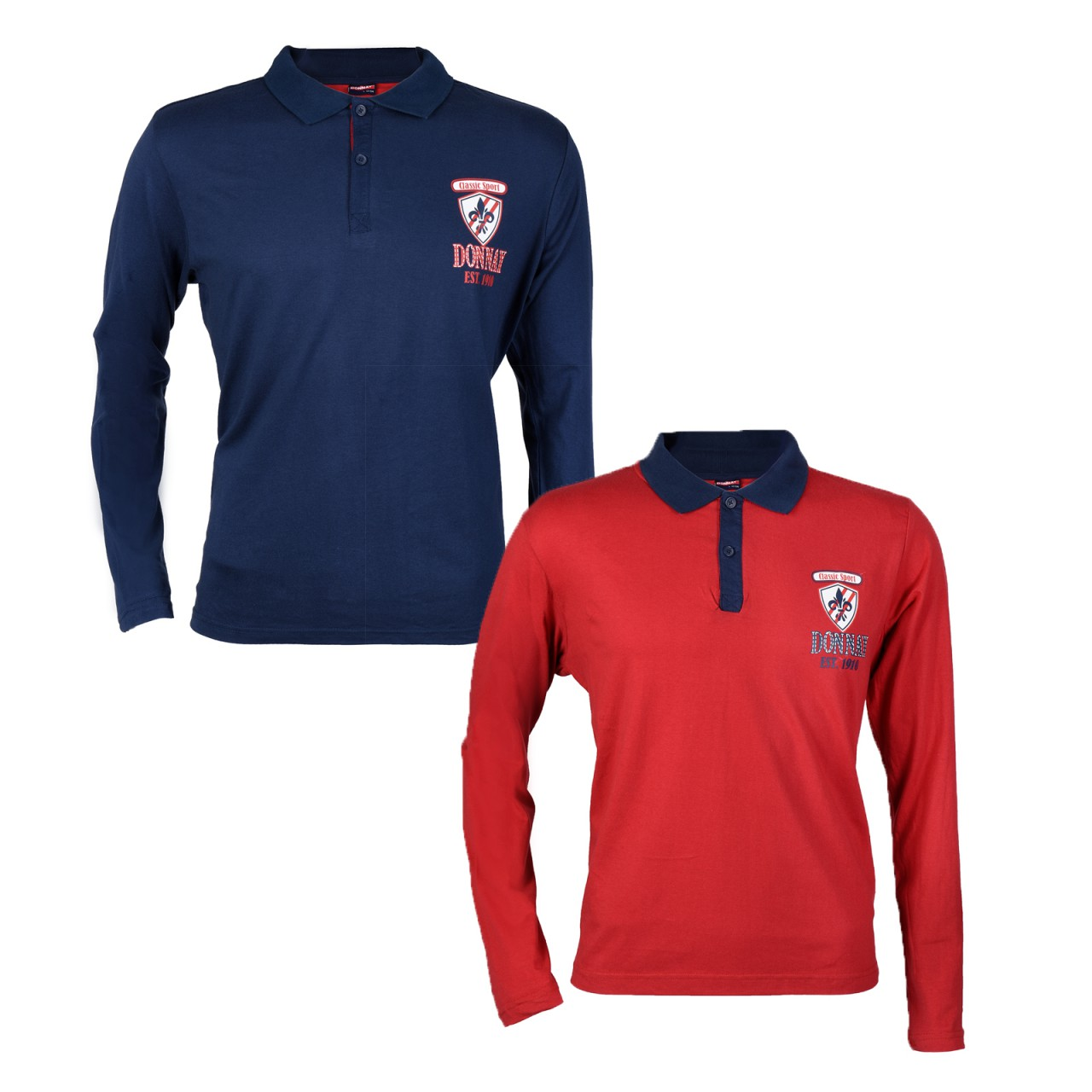 2 Pcs Donnay Men 39 S Long Sleeve Polo Shirt Im Rugby Style
