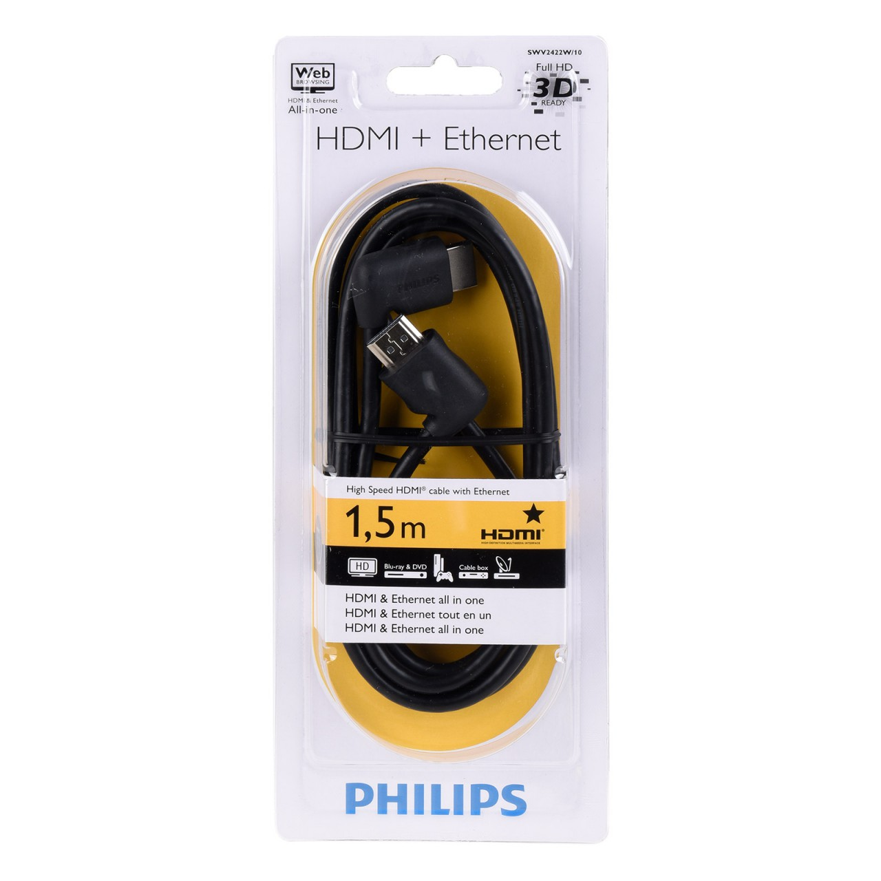Philips SWV 2422 W/10 HDMI + Ethernet Kabel 1,5 m schwarz