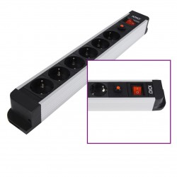6 Slot Aluminum Socket strip with Overload protection SL 2620S