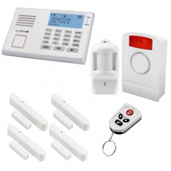 OLYMPIA Wireless GSM Alarm System 9061 Super Set with Motion Detector, Outdoor Siren, Door/Window Detectors and remote control