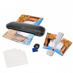 The new 4 in 1 laminating Set OLYMPIA A330 Plus with trimmer, 15 foils DIN A4 to business card and edge rounder