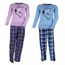Damen Langarm Pyjama LOVE IS THE MESSAGE