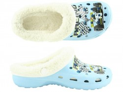 Camprella Kinder Phylon Clogs mit Warmfutter hellblau-multi