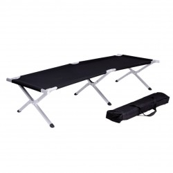 LEX Camp Bed incl. carrying bag, steel, black, 190 x 62 x 42 cm