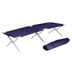 LEX Camp Bed incl. carrying bag, steel, dark blue, 190 x 62 x 42 cm