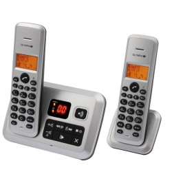 OLYMPIA Certo Answer Twin Cordless Phones with Answering Machine - Silver