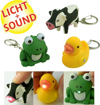 H+H LED 107 Key pendant with animal sound and LED-Light